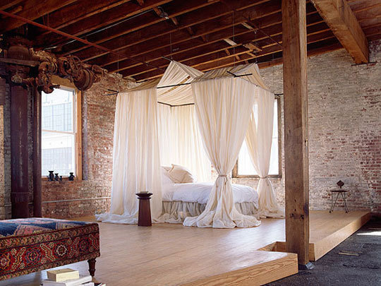 what a beautiful way to soften up a bare loft apartment