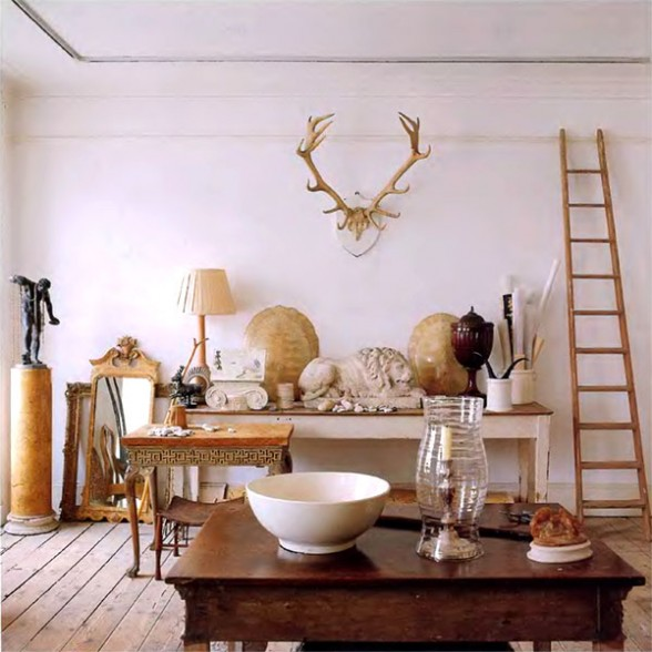 Eclectic Furnishings: Eclectic-gray-greige-antler-decor-white-home-decorating-ideas